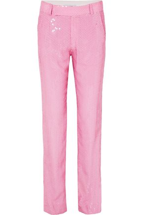 MSGM Sequined woven straight-leg pants