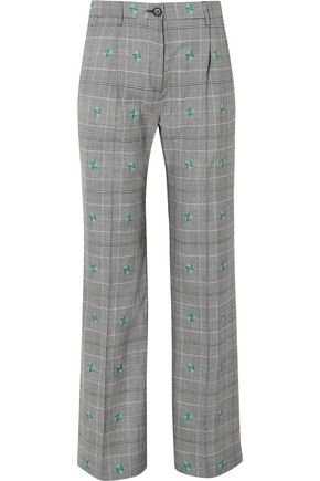 ALEXACHUNG Embroidered Prince of Wales checked wool-blend straight-leg pants