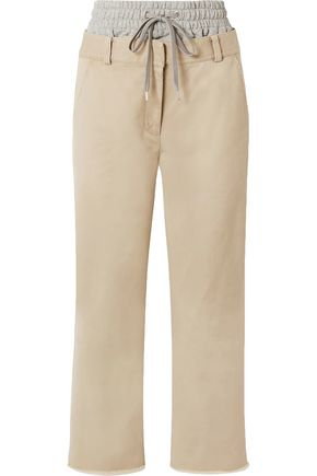 T by ALEXANDER WANG French terry-paneled cotton-gabardine straight-leg pants