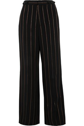 CHLOÉ Metallic striped cady wide-leg pants