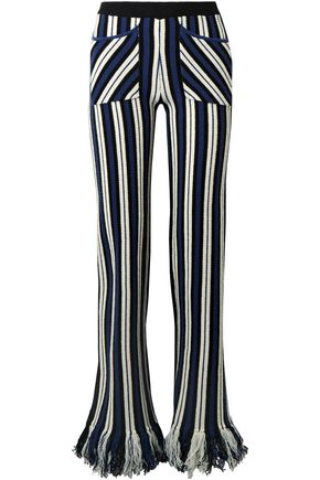 ROSIE ASSOULIN Striped intarsia-knit cashmere straight-leg pants