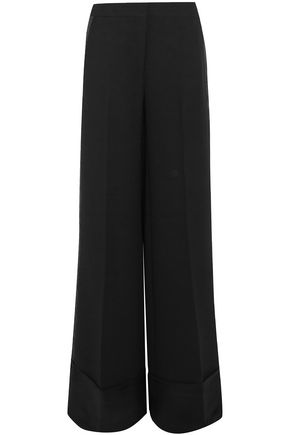 VICTORIA, VICTORIA BECKHAM Grosgrain-trimmed crepe wide-leg pants