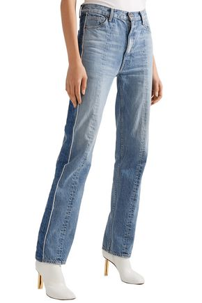 TRE by NATALIE RATABESI Two-tone high-rise straight-leg jeans