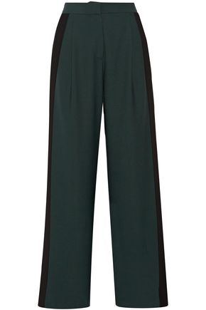 DION LEE Striped stretch-crepe wide-leg pants