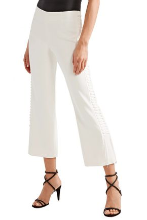 JONATHAN SIMKHAI Lace-up crepe kick-flare pants