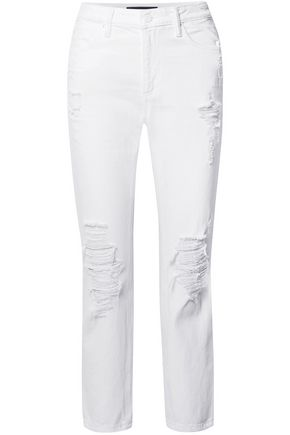 ALEXANDER WANG Cult distressed high-rise straight-leg jeans
