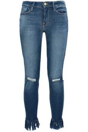 FRAME Lambeth distressed mid-rise skinny jeans