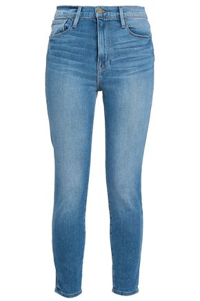 FRAME Faded high-rise skinny jeans