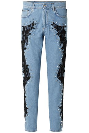 MOSCHINO Lace-appliquéd and crystal-embellished boyfriend jeans