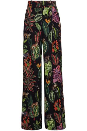 OSCAR DE LA RENTA Printed silk-blend crepe de chine wide-leg pants