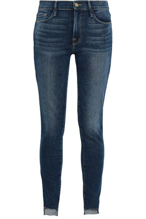 FRAME Wodbine frayed mid-rise skinny jeans