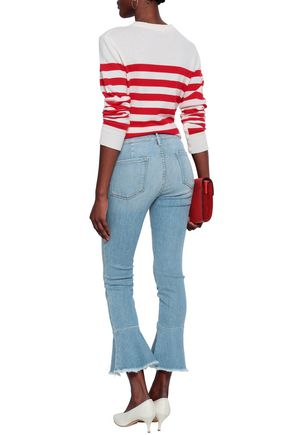 FRAME Frayed mid-rise kick-flare jeans