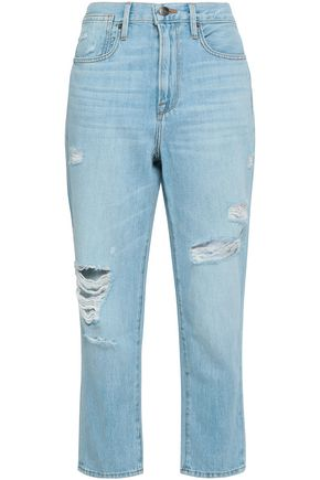 FRAME Distressed cropped high-rise tapered jeans