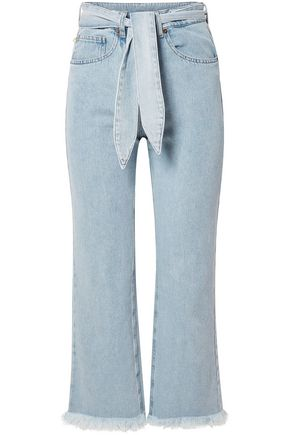 NANUSHKA Pyramid belted frayed high-rise straight-leg jeans