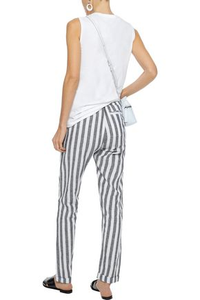 ONIA Ella striped linen and cotton-blend straight-leg pants