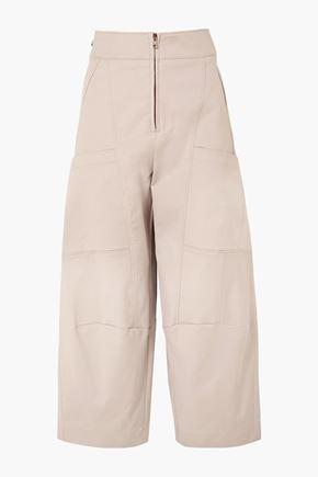 CHLOÉ Cropped stretch-cotton wide-leg pants