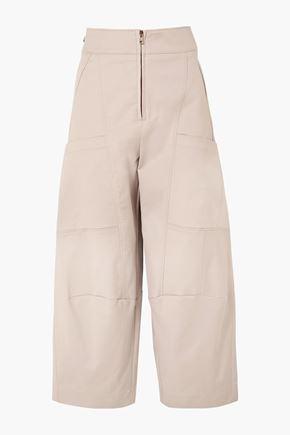 CHLOÉ Cropped stretch-cotton wide-leg pants