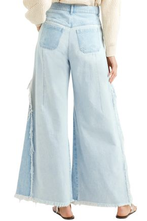 CHLOÉ Distressed high-rise wide-leg jeans