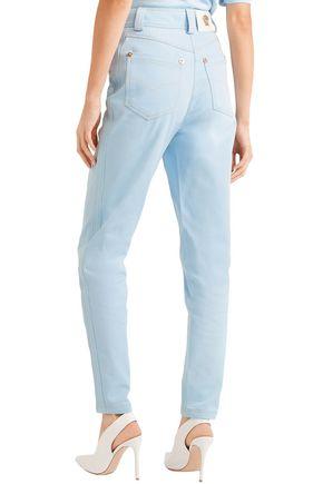 VERSACE High-rise slim-leg jeans