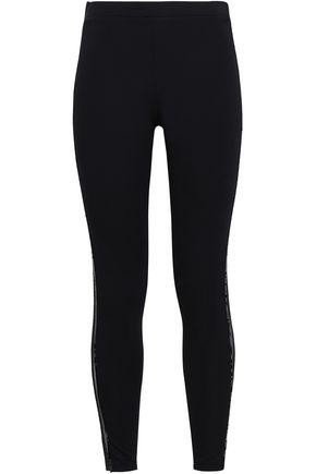 VERSACE Sequin-embellished mesh-trimmed stretch-modal leggings
