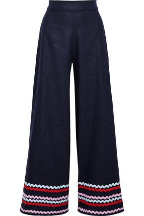 PAPER London Kelly rickrack-trimmed ramie-twill wide-leg pants