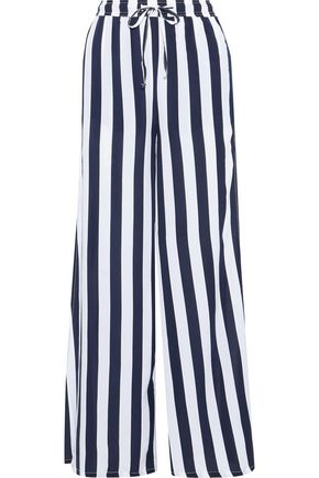 ONIA Chloe striped poplin wide-leg pants