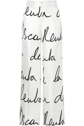 OSCAR DE LA RENTA Printed silk-twill wide-leg pants