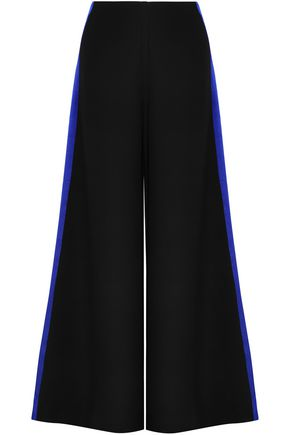 ROKSANDA Hammered satin-trimmed cady wide-leg pants