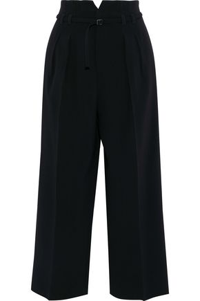 REDValentino Cropped belted crepe wide-leg pants