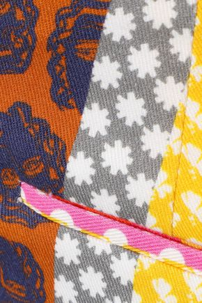 ALEXACHUNG Cropped paneled printed cotton-twill straight-leg pants