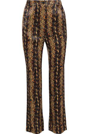 ALEXACHUNG Snake-print satin bootcut pants