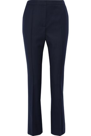 ALEXACHUNG Cropped pinstriped wool straight-leg pants