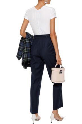 ALEXACHUNG Tie-front pinstriped wool-twill straight-leg pants
