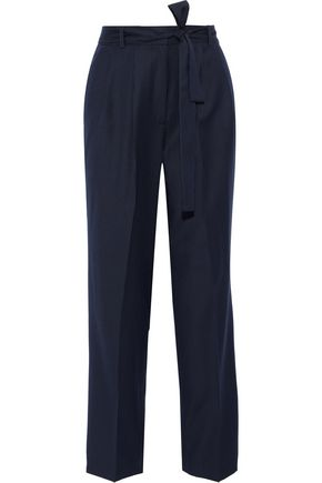 ALEXACHUNG Tie-front pinstriped wool-twill straight-leg pants