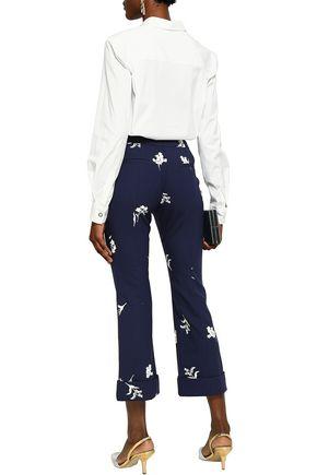 CAROLINA HERRERA Floral-print wool-blend kick-flare pants