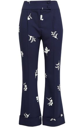 CAROLINA HERRERA Floral-print wool-blend kick-flare pants