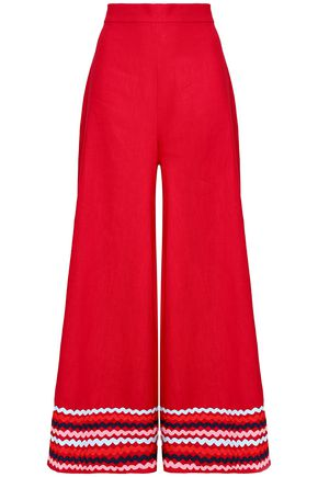 PAPER London Rick rack-trimmed ramie wide-leg pants