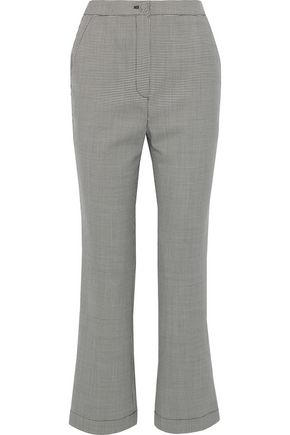 ALEXACHUNG Houndstooth wool-blend bootcut pants