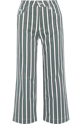 ALEXACHUNG Cropped striped mid-rise wide-leg pants