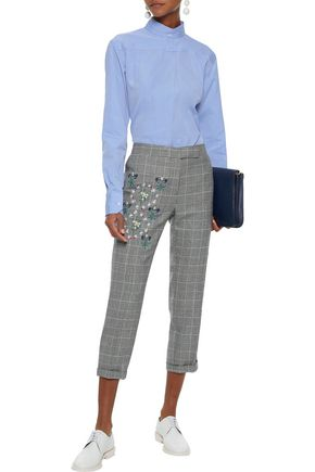 THOM BROWNE Embroidered Prince of Wales checked wool slim-leg pants