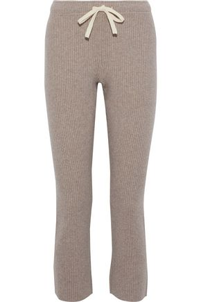 MONROW Cropped ribbed wool-blend slim-leg pants