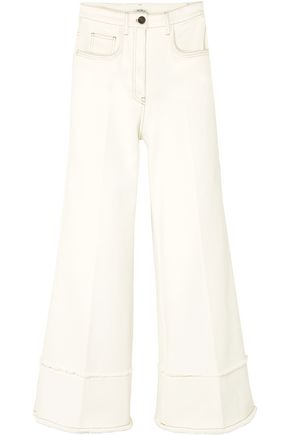 MIU MIU Cropped frayed high-rise flared jeans