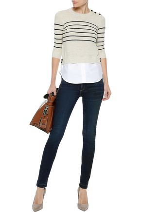 VERONICA BEARD Faded mid-rise skinny jeans