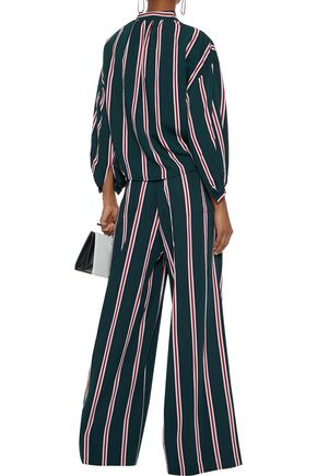 TOME Karate belted striped twill wide-leg pants