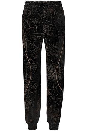 CHLOÉ Embellished printed velvet track pants