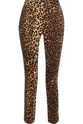 W118 by WALTER BAKER Cropped leopard-print stretch-cotton skinny pants