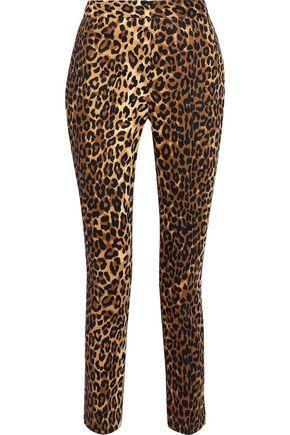 W118 by WALTER BAKER Cropped metallic cotton-blend slim-leg pants