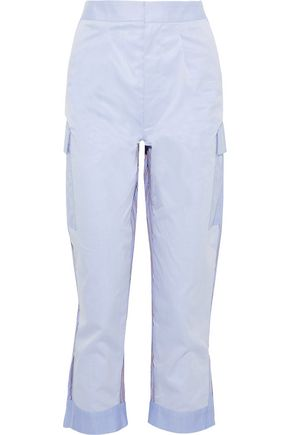 TOME Paneled striped cotton-twill straight-leg pants