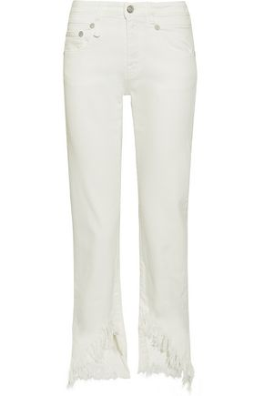 R13 Frayed low-rise straight-leg jeans