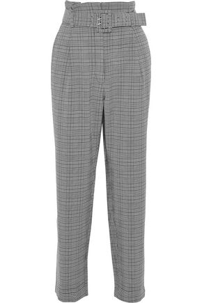 W118 by WALTER BAKER Daniella belted checked woven straight-leg pants